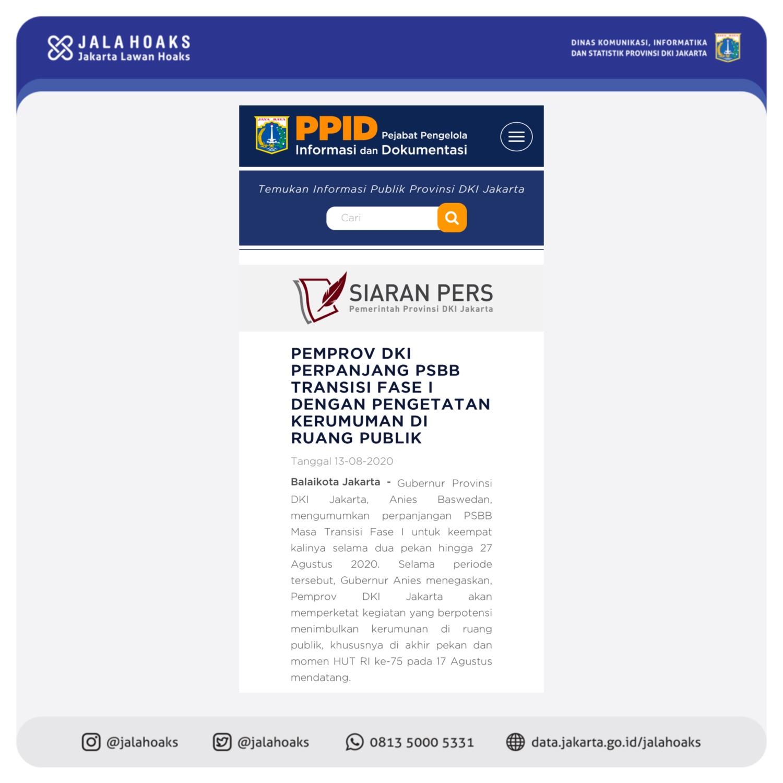 FAKTA Gubernur Anies Kembali Perpanjang PSBB Transisi Selama 14 Hari Hingga 27 Agustus 2